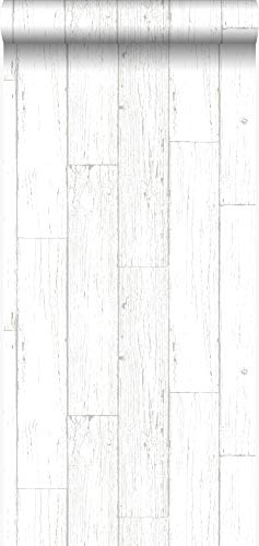 behang sloophout planken ivoor wit - 347551 - van Origin - luxury wallcoverings