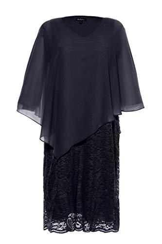Ulla Popken Damen große Größen Spitze und Chiffon Formales Abendkleid, Blau (Marine 72184870), 54-56