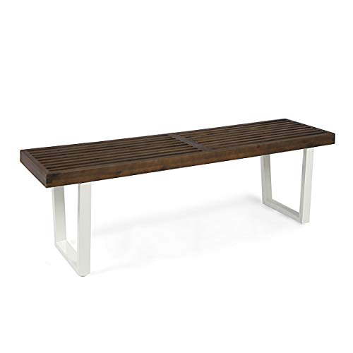 Christopher Knight Home Joa Patio Dining Bench, Acacia Wood with Iron Legs, Modern, Contemporary, Dark Brown and White, Wash