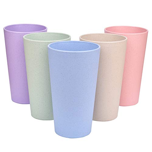 Vaso reutilizable irrompible para adultos, vaso de paja de trigo saludable, multicolor, para café, té, agua, leche, jugo, juego de 5 tazas de cepillo de dientes multicolor para niños y adultos