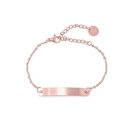 a little something  Pulsera Kasimir para mujer con chapado en oro rosa de 18 quilates, incluye paquete de regalo sostenible (certificado FSC), colección 2020