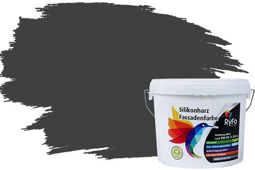 RyFo Colors Silikonharz Fassadenfarbe Lotuseffekt Trend Anthrazitgrau 6l - bunte Fassadenfarbe, weitere Grau Farbtöne und Größen erhältlich, Deckkraft Klasse 1