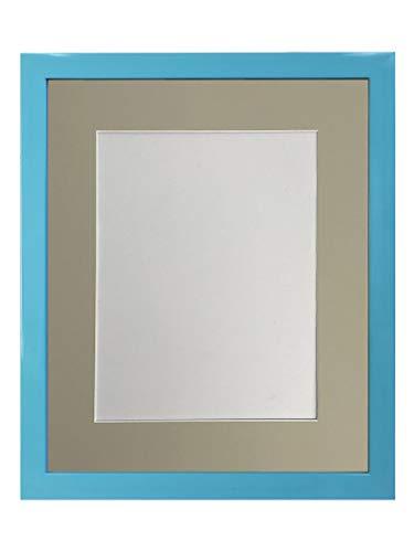 FRAMES BY POST - Cornice portafoto Blu con passepartout Grigio Chiaro, 50 x 40 cm, Formato A3, in plastica e Vetro plastificato, 1,9 cm