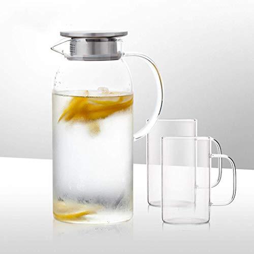 SXLCKJ Jarra de Agua de Vidrio a Prueba de explosiones de Alta Temperatura Botella de Agua fría para el hogar Hervidor de limón empapado Lar (Juegos de té)