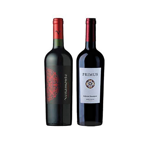 Vinos tintos Cabernet Sauvignon Primus y Veramonte - D.O. Valle del Maipo y Valle de Colchagua - Mezclanza Gonzalez Byass (Pack de 2 botellas)