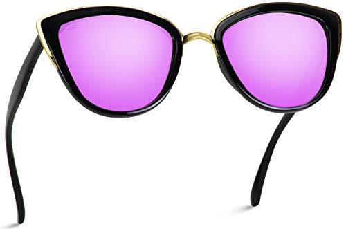 Gafas de sol para mujer con lentes reflectantes y ojo de gato, Morado (Marco negro / lente de espejo morado.), Talla única