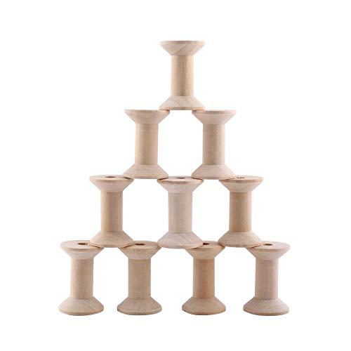 10pcs Bobine en Bois, 47mm x31mm Bobines de Fil Vides Couleur Bois Naturel Forme De Cylindre DIY Outil.