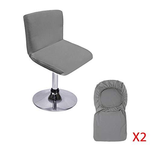 Btsky, confezione da 2 sgabelli da bar con copertura dello schienale, copertura elasticizzata per sedie corte da pranzo girevoli, sgabelli da bar (senza sedie) Grey