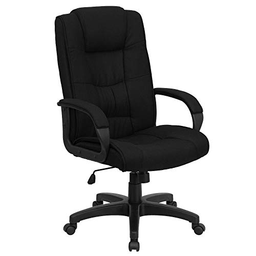 Flash Furniture High Back Black Fabric Executive Swivel Office Chair with Arms, BIFMA Certified