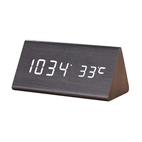 Tafel Houlian shop Multifunctionele led-klok van hout met stembediening, temperatuur/datum, oogbescherming