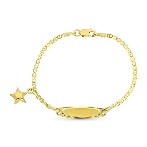 Esclava oro 18k bebé 13 cm. ancla detalle estrella colgante chapa lisa mosquetón