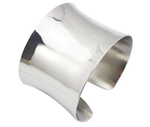 COUYA Raised Edges Blank Polish Stainless Steel Fashion Wide Cuff Bangle Bracelet (Silver)