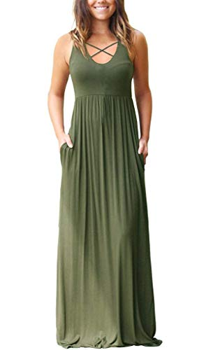 Women's Sleeveless Racerback Maxi Dresses with Pockets Criss Cross Plain Loose Long Dresses Army Green Large