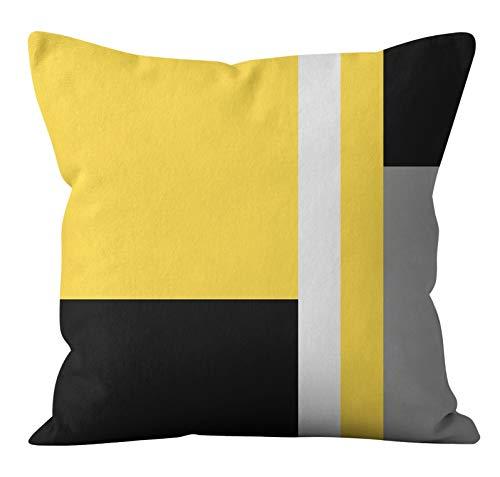 PPMP Funda de cojín Amarillo nórdico Funda de geométrica de poliéster Almohadas decoración del hogar Funda de A11 45x45cm