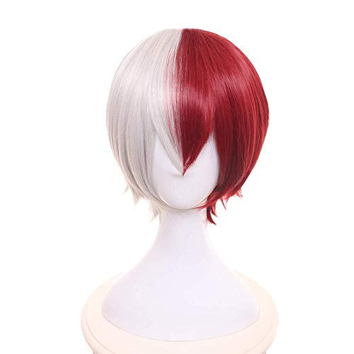 LZT Short Straight Red Silver Anime Cosplay Hair Wig for My Hero Academia Shoto Todoroki Novelty with Free Wig Cap