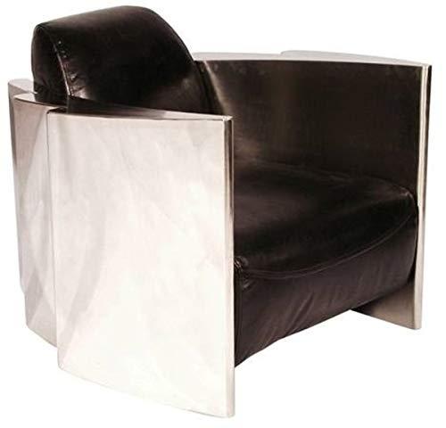 Casa Padrino Echtleder Club Sessel Vintage Schwarz/Silber 68 x 89 x H. 73 cm Qualität