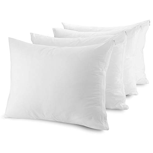 Brand New Pack of 4 Zippered Pillow Protectors Covers Cases Anti Dust Mite Bed Bug Feather Mildew Proof - Anti Allergy - White--Anti Bacterial-Hypoallergenic - Stain Resistant - Machine Washable - Standard Size 19x29 48x74cm