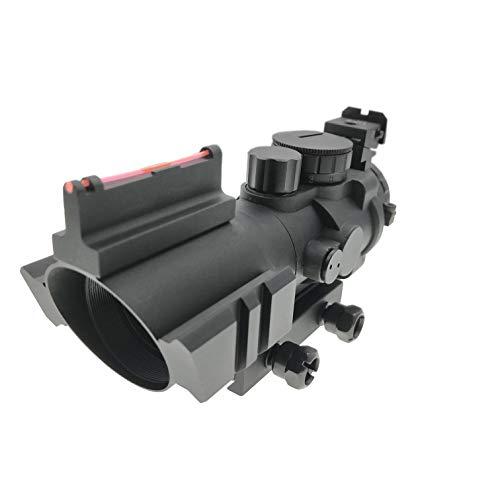 Hauska 4x32 ACOG Scope zielfernrohr Airsoft Red Dot Visier Leuchtpunktvisier mit Fiberoptic und 20mm/22mm Montage für Luftgewehr Jagd Softair