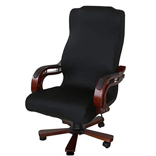 Funda para silla de oficina, universal, de repuesto, extraíble, giratoria, elástica, resistente, Negro, Large