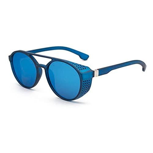 UV400 Lente de Filtro Gafas de Sol Gafas de Sol Estilo Punk y Retro para Hombres Gafas de Sol Ligeras para Todo fósforo - Azul Plateado 140X50X131Mm