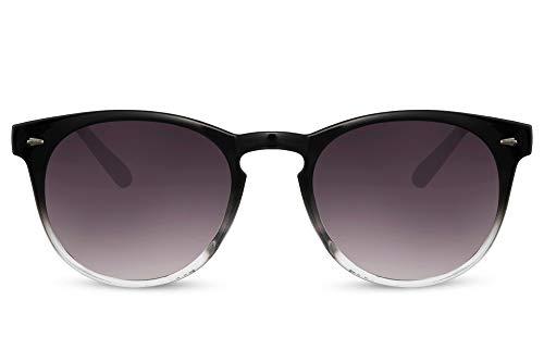 Cheapass Gafas de sol Sunglasses con montura redonda de color negro a transparente con lentes degradados oscuros Diseño de moda con protección UV400 para mujer