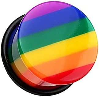 Covet Jewelry Rainbow Stripe Single Flared Ear Gauge Plug