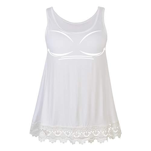 CARCOS Duży rozmiar koronkowy damski top z wbudowanym biustonoszem, bez rękawów, bluzka Plus Size, tunika, swing, luźna bluzka na lato
