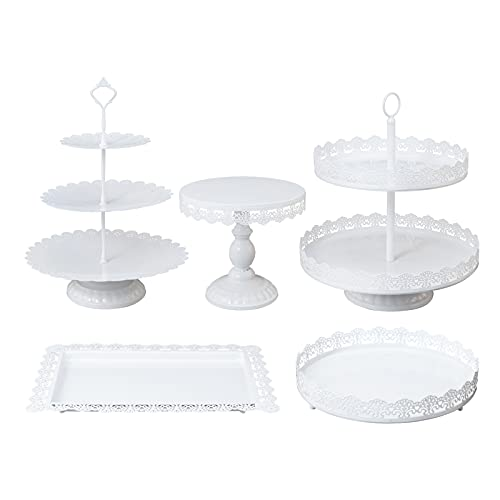 SCIEO Cake Stands Set of 5 White Metal Cupcake...
