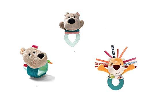 UDC - Trio de juegos de despertar con sonajero para dentición, diseño de conejo, con sonajero de conciliación y sonajero de César – Lavable a máquina a 30 °C – a partir de 6 meses