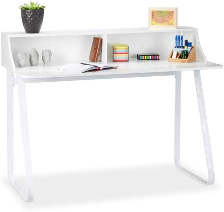 Relaxdays Schreibtisch Wei, Bürotisch mit Fchern & Ablage, Computertisch aus Metall & MDF, HBT 92 x 120 x 60 cm, Weiß