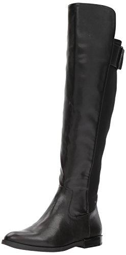 Calvin Klein Women's Priya Over The Knee Boot, Black Leather/Stretch, 6 Medium US