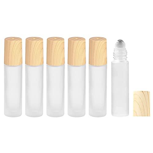 LxwSin Botella Roll On para Aceites Esenciales, 6 Piezas 10ml Botellas de Vidrio Botellas de Rodillos de Aceites Esenciales Recargables, Aromaterapia, Aceites Esenciales, Fragancias