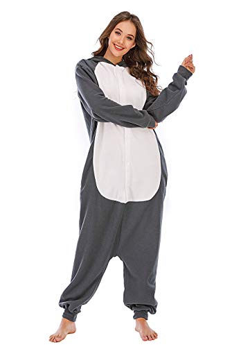 BGOKTA Disfraces de Cosplay para Adultos Pijamas de Animales One Piece Festivos Lobo-2, M