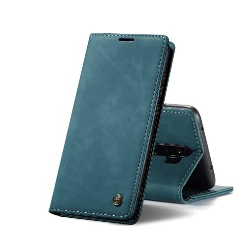 Chocoyi Compatible Funda Xiaomi Redmi Note 8 Pro Flip Leather Edition,magnético, función de Soporte y Ranuras para Tarjetas-Azul