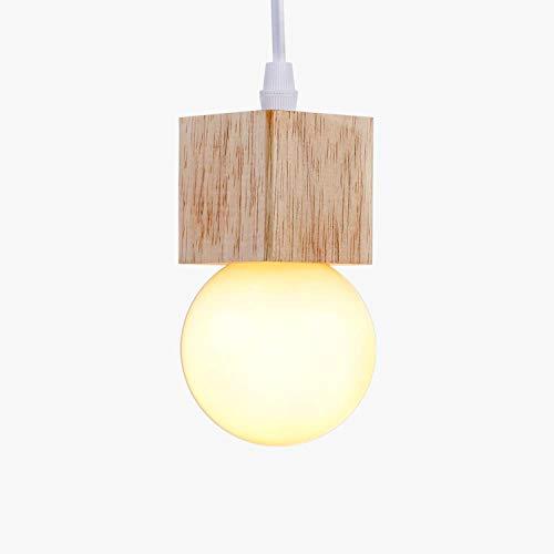 LIGHTESS Lampara Colgante Techo Moderna Ajustable en Altura Iluminación Colgante Interior Lámpara de Techo Madera E27 Sin Bombilla Iluminación Decorativa para Comedor, Sala de Estar (1 Luces)