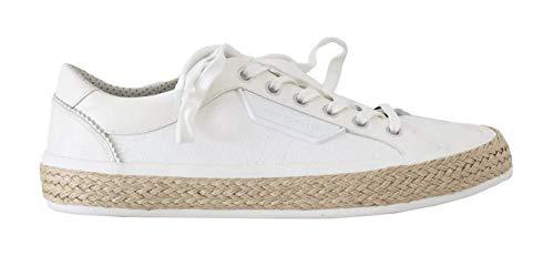 Dolce & Gabbana - Herren Schuhe - White Leather Cotton Sneakers