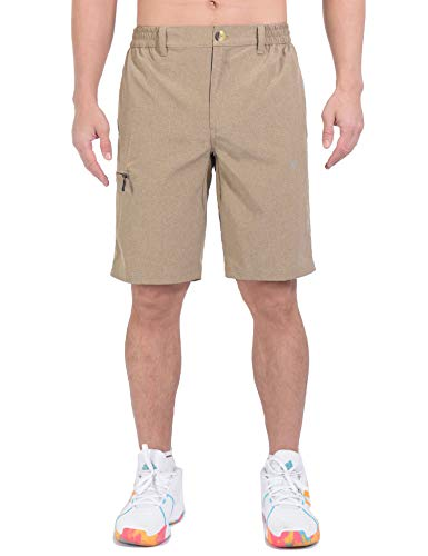 Little Donkey Andy Men's Quick Dry Stretch Shorts for Hiking Golf Travel, with Elastic Waist Greige XXL