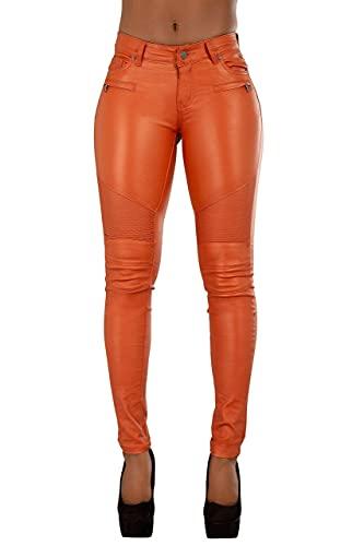 Crazy Lover Damen Kunstleder Leder Look Hosen Damen Biker Stretch Coated Jeans (38, Orange)