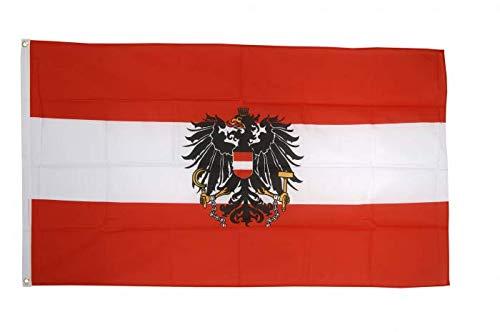 Flaggenfritze Flagge Österreich mit Adler, österreichische Fahne hissfertig mit Ösen 90 x 150 cm+ gratis Sticker