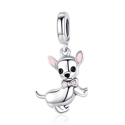 NewL Lindo perro chihuahua colgante de plata 925 original esmalte rosa oreja joyería de moda regalos niña accesorios