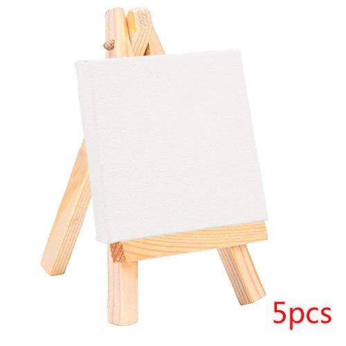 Wuqiong 5 Set Mini Blank Canvas Peinture Acrylique avec chevalet Peinture Chevalet d'art Forains Papeterie Cadeaux Enfants