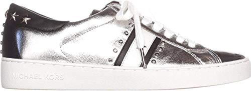Michael Kors Mujeres Frankie Stripe Sneaker Piel Deportivos de Moda, Silver, Talla 9.5