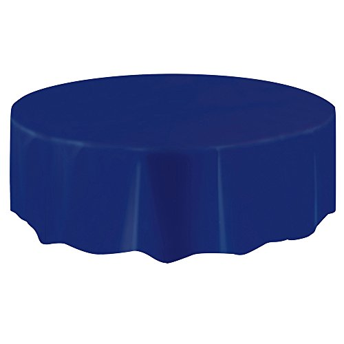Round Navy Blue Plastic Tablecloth, 84'