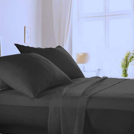 Made in Italy - Completo Lenzuola + 2 Federe per letto Matrimoniale in puro cotone di alta qualità 100% Made in Italy (sotto con Angoli H 20cm) Angel's (Nero, Matrimoniale)