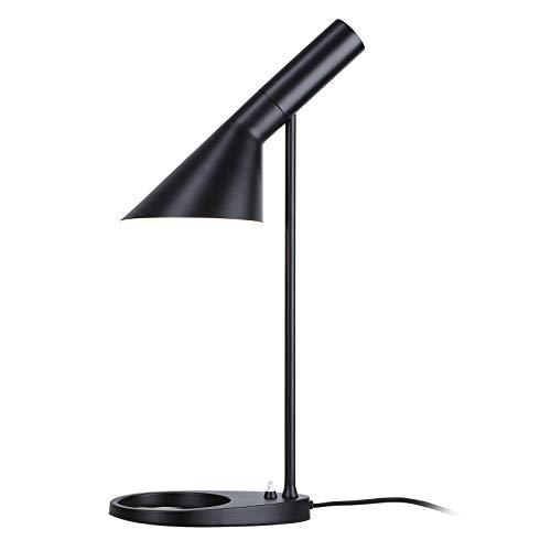 BarcelonaLED Lámpara de escritorio LED de diseño moderno metal nórdico casquillo E27 en negro para lectura estudiar Iluminación Interior Oficina Mesa de noche Salón Habitación Dormitorio y Estudio