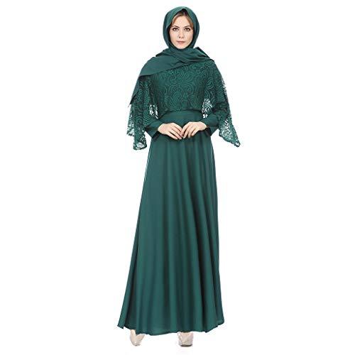 Zegeey Damen MaxiKleid Muslimische Einfarbig Langarm Vintage Abendkleider Modest Muslim Kleid...