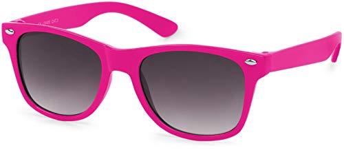 styleBREAKER Kinder Sonnenbrille, klassiches Retro, Nerd Design 09020056, Farbe:Gestell Pink/Glas Grau Verlauf