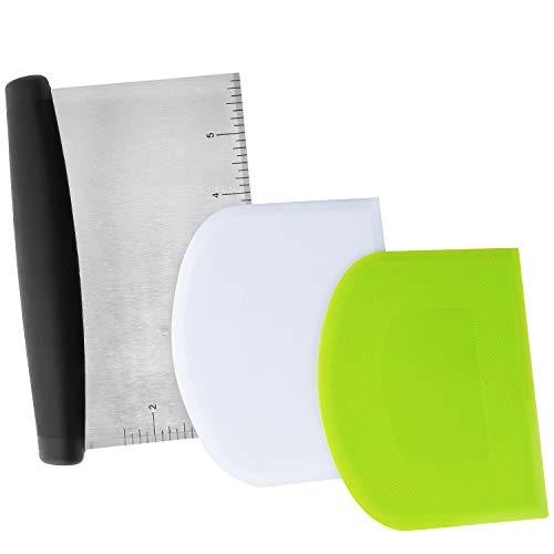 LUTER 3 Stück Teigschaber Ausstecher Praktische Spatel mit Schuppenschaber, Spatelset für Kuchen, Pizza, Brotschneiden, Küchenbedarf (Grün, Weiß, Silber)
