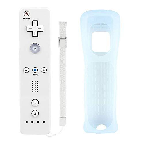 Atopoo Wii Télécommande , télécommande de jeu de remplacement pour Nintendo Wii / Wii U, avec étui en silicone gratuit et dragonne (blanc)
