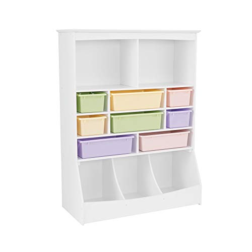 KidKraft Wooden Wall Storage Unit with 8 Plastic Bins & 13 Compartments - White, 53' x 20' x 8'